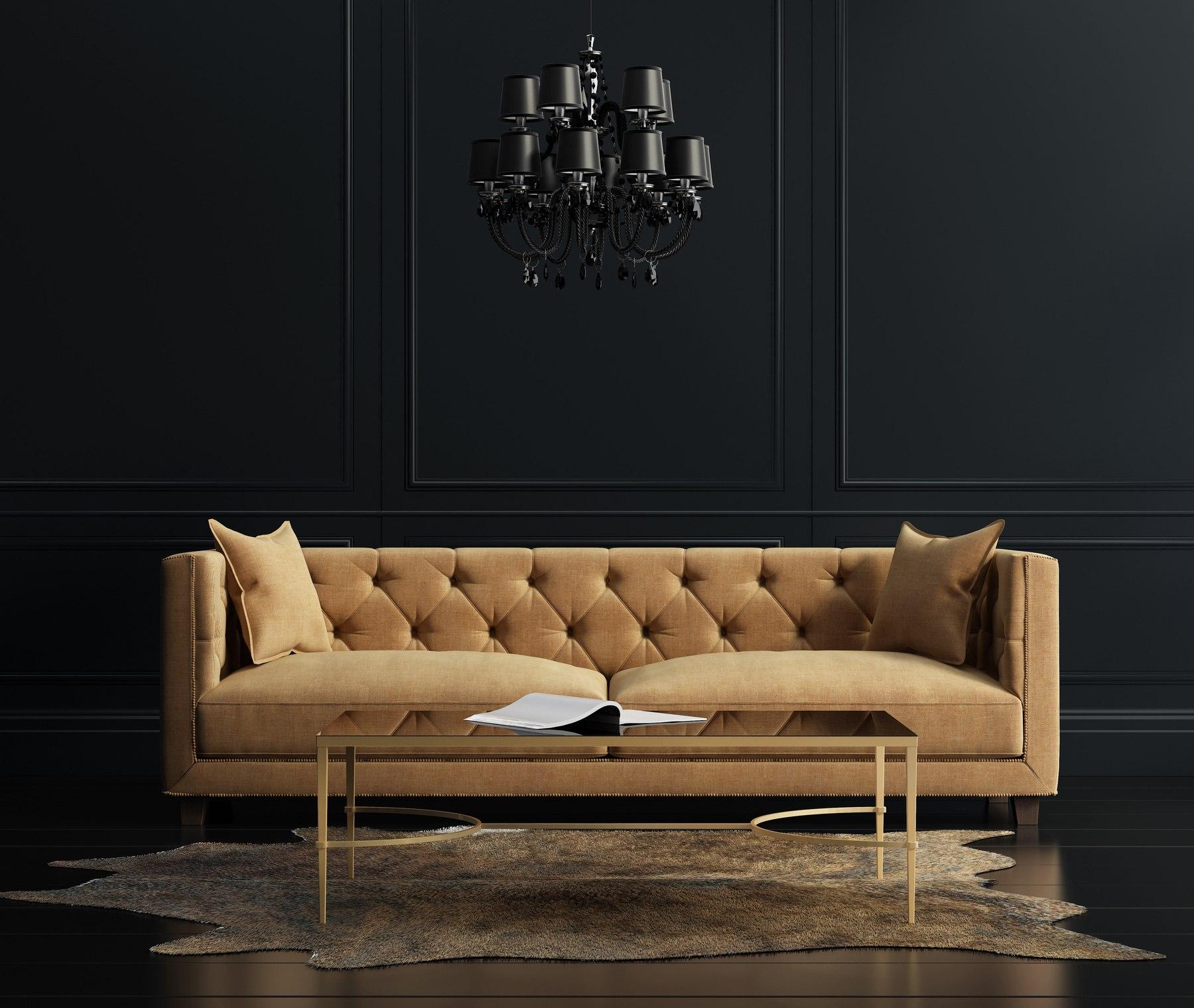 Elegant interior, living room with beige velvet sofa - SMI
